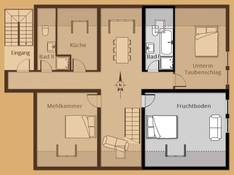 Grundriss Zimmer Fruchtboden - Belegung 1 bis 2 Personen