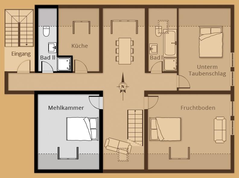 Grundriss Zimmer Mehlkammer - Belegung 1 bis 2 Personen