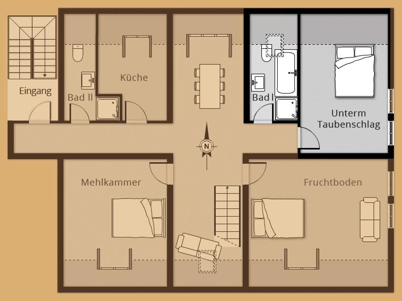 Grundriss Zimmer Unterm Taubenschlag - Belegung 1 bis 2 Personen