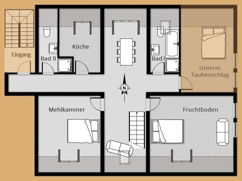 Grundriss Ferienwohnung ALTER ADLER - Belegung 3 bis 4 Personen