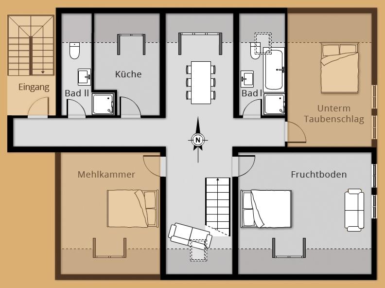 Grundriss Ferienwohnung ALTER ADLER - Belegung 2 Personen
