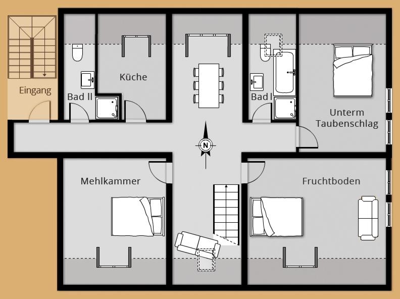 Grundriss Ferienwohnung ALTER ADLER - Belegung 5 bis 6 Personen (8 Personen)